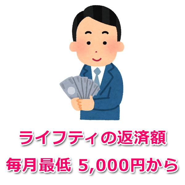 毎月の返済額は最低5,000円から