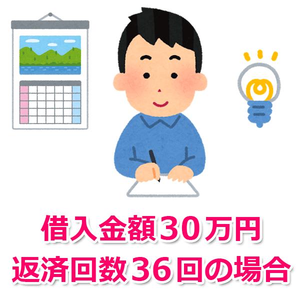 借入金額30万円、返済回数36回(3年)の場合