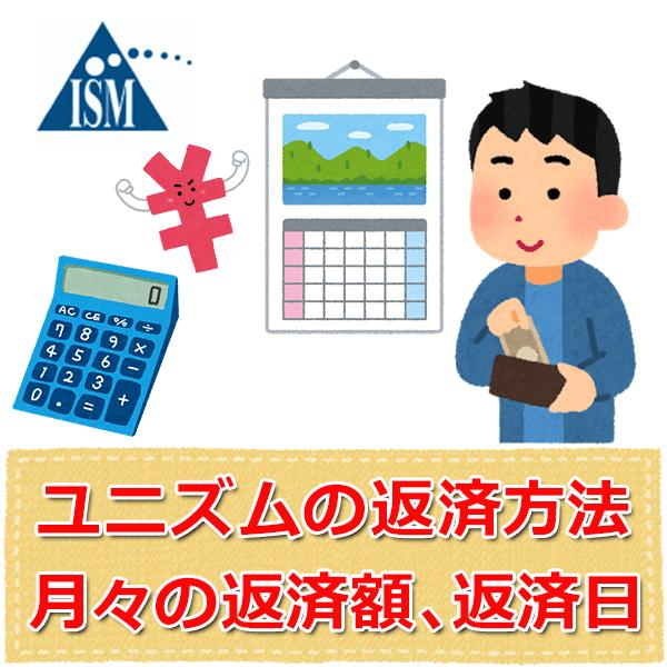 消費者金融ユニズムの返済方法、月々の返済額、返済日