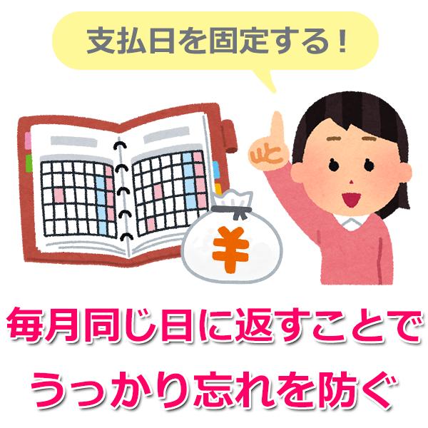 1.返済期日は毎月日付を固定しよう